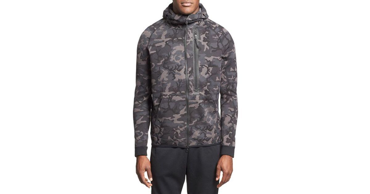 nike 39 tech fleece hero 39 camo full zip hoodie in gray for. Black Bedroom Furniture Sets. Home Design Ideas