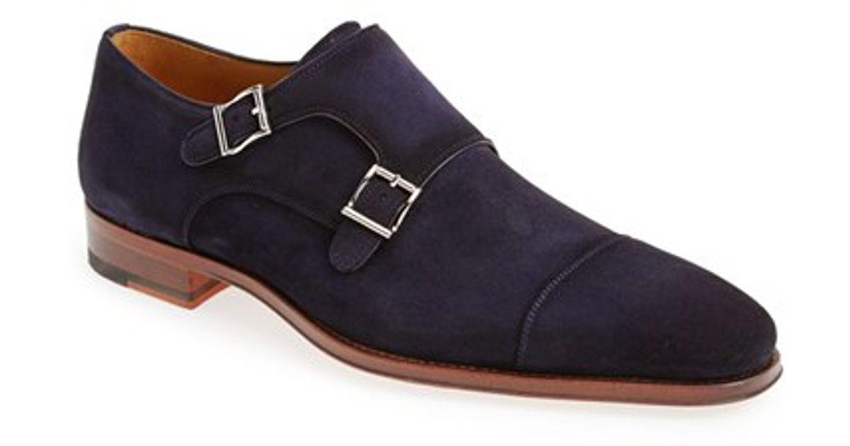 Magnanni Benitez Double Monk Strap Shoe In Blue For Men