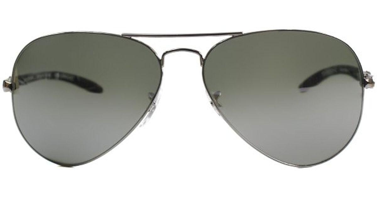 c1d84a1e58 Ray-Ban Ray Ban Rb8307 004 40 58Mm Black Carbon Fiber Aviator Sunglasses  Grey Mirror Lens-58Mm in Metallic - Lyst