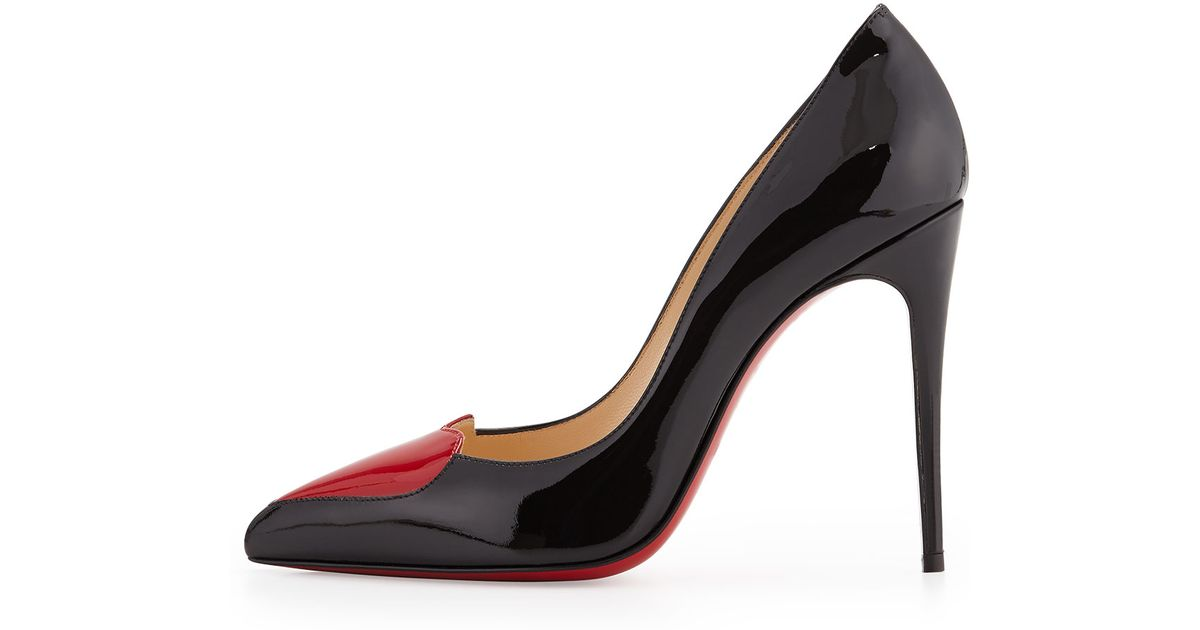 9c4407b239 Lyst - Christian Louboutin Cora Patent Heart Red Sole Pump in Black