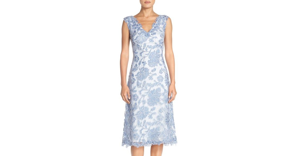 Tadashi shoji embroidered lace fit flare dress in blue