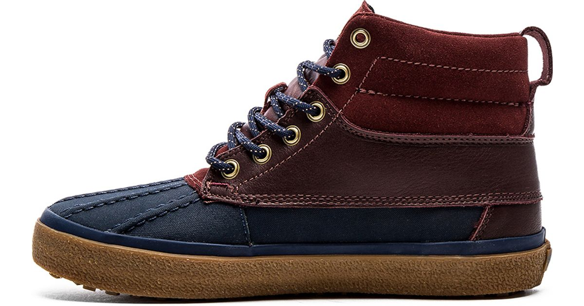 46b6bea175 Lyst - Vans California Sk8 Hi Del Pato Leather Sneakers in Blue for Men