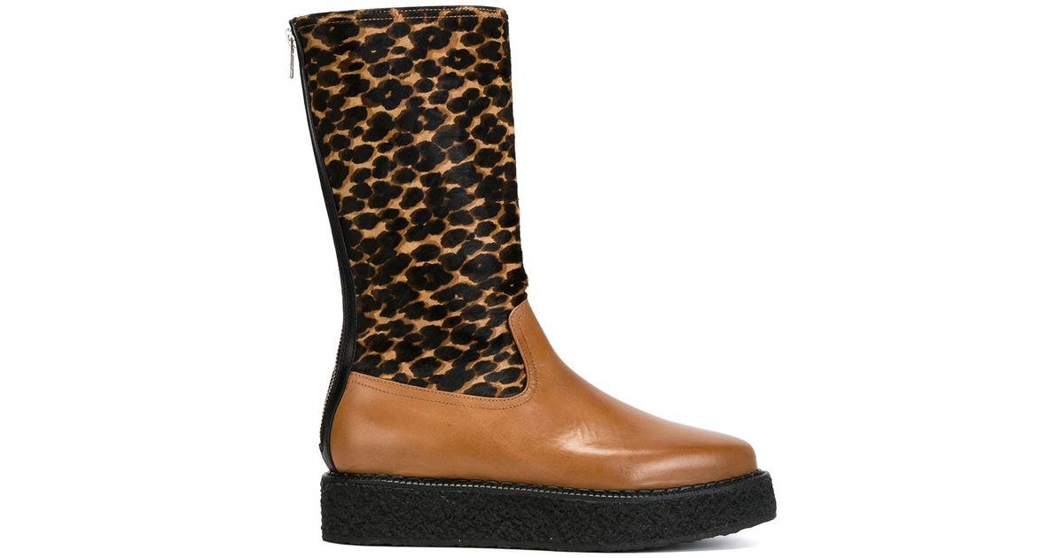 antonio marras leopard print platform boots in black