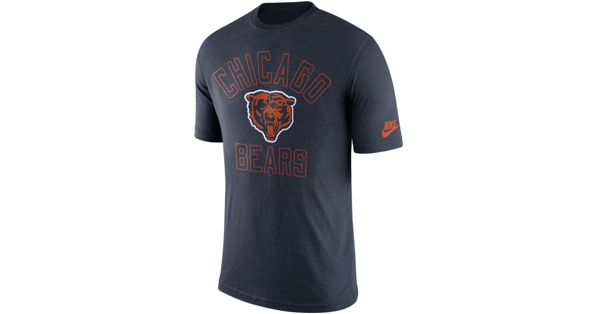 Nike men 39 s chicago bears retro logo t shirt in blue for for Old school nike shirts