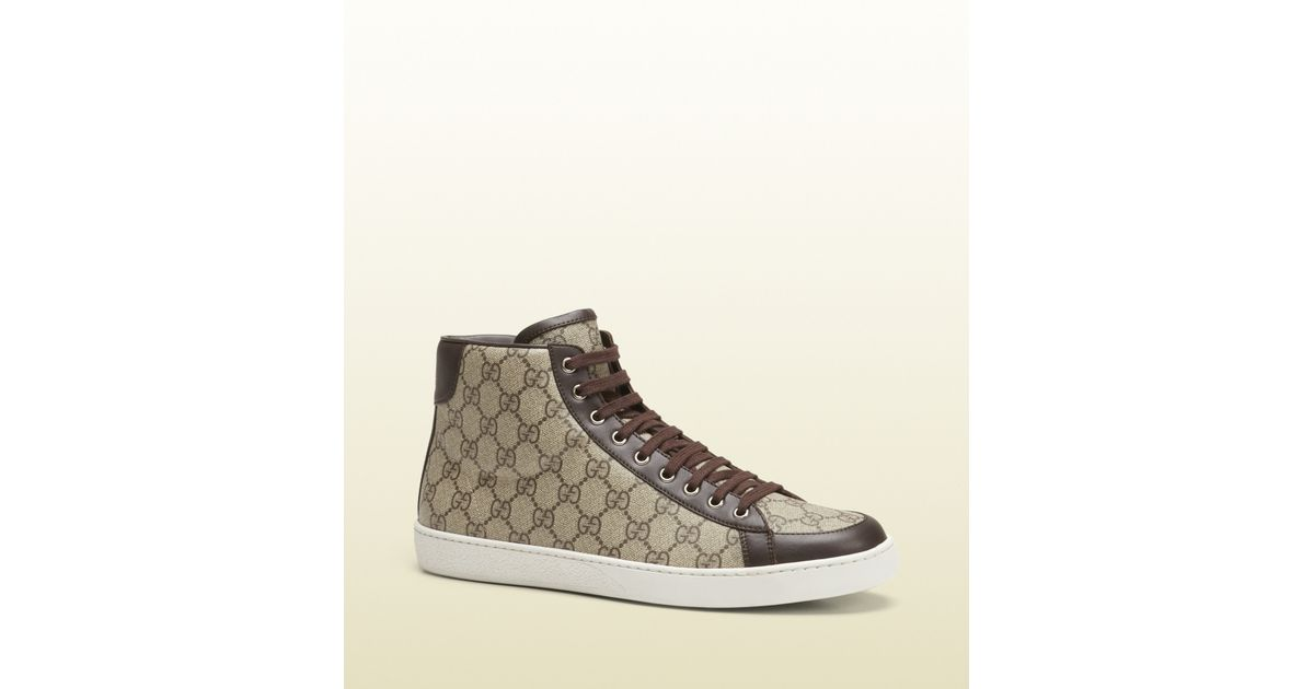 cdbfd94087c3d Lyst - Gucci Gg Supreme Canvas High-top Sneaker in Brown for Men