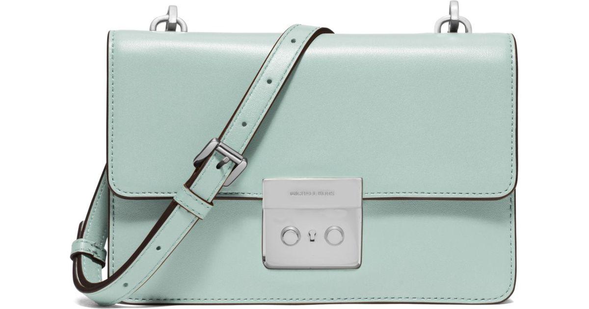 4aef7484d16ac shop lyst michael kors sloan small calf leather cross body bag in green  3b1dc 22a1e