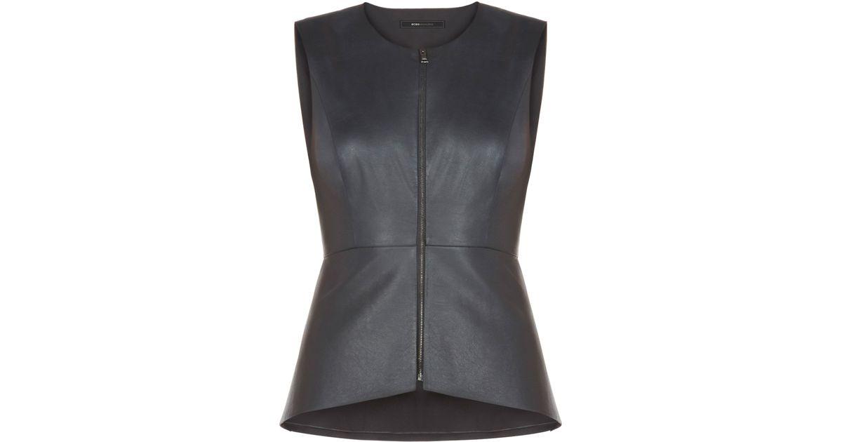 594791bbf94e9 Lyst - BCBGMAXAZRIA Abrielle Faux-leather Peplum Top in Black