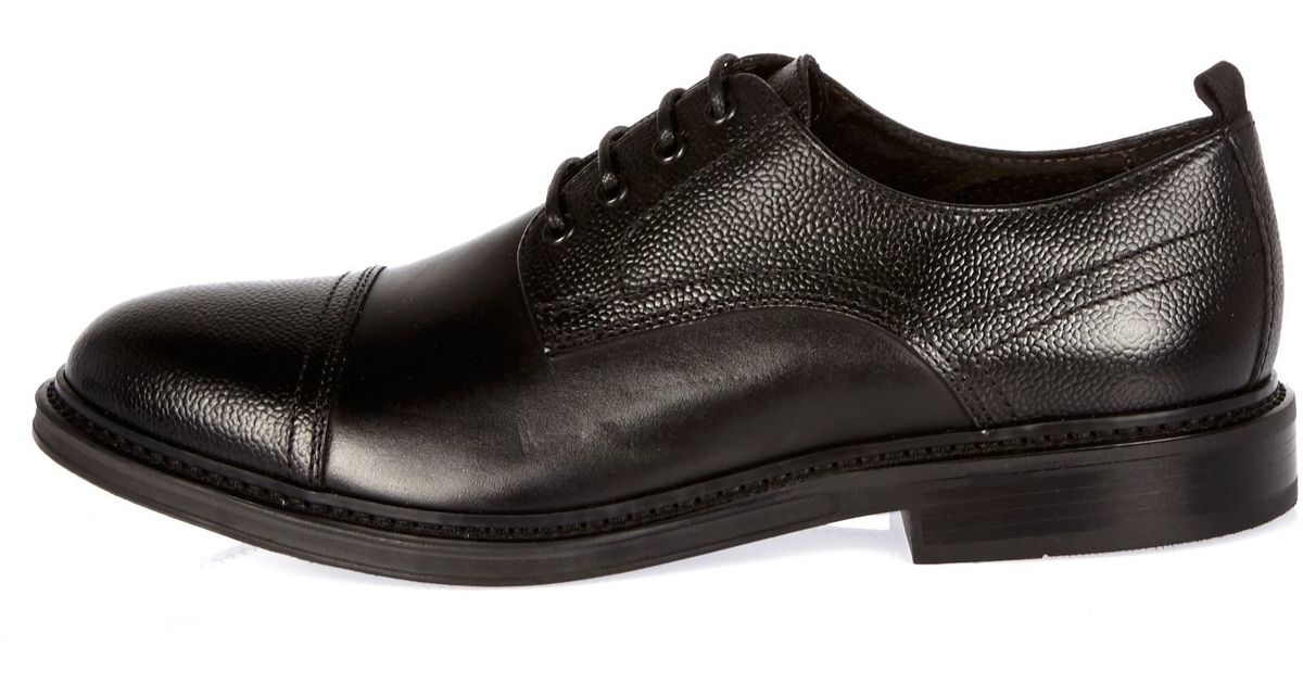 river island black textured leather formal shoes in black