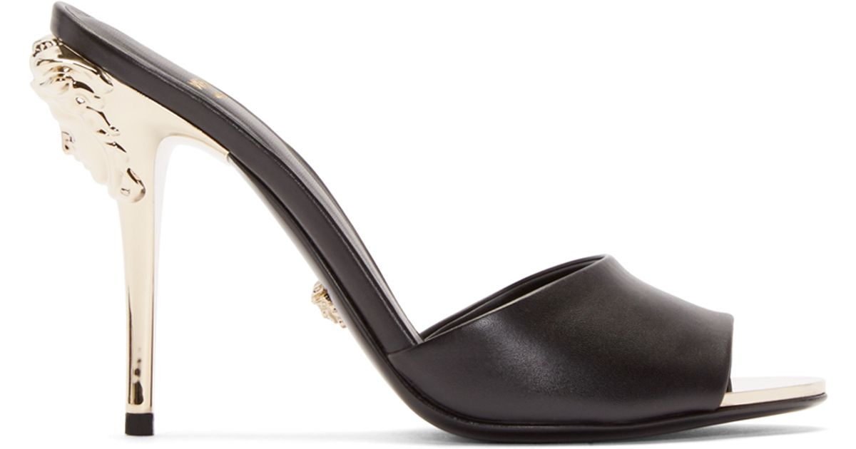 Versace Black Leather Medusa Mules - Lyst