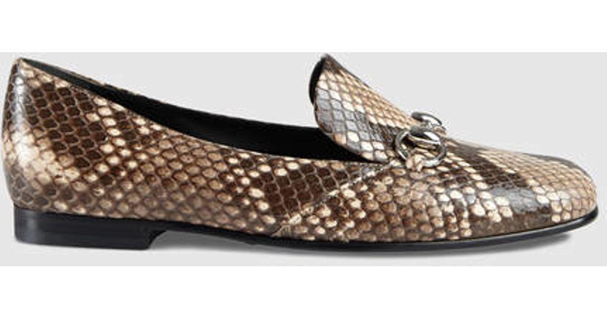 df695c09d Gucci Python Horsebit Loafer - Lyst