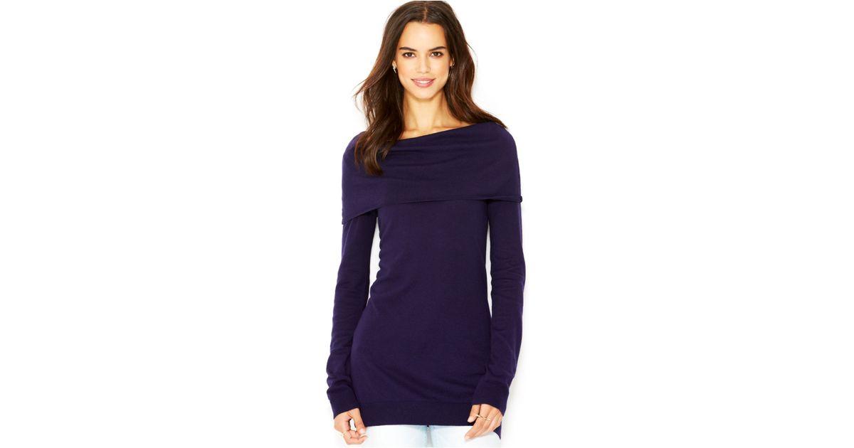 Rachel rachel roy Long-Sleeve Cowl-Neck Tunic Sweater in Purple | Lyst
