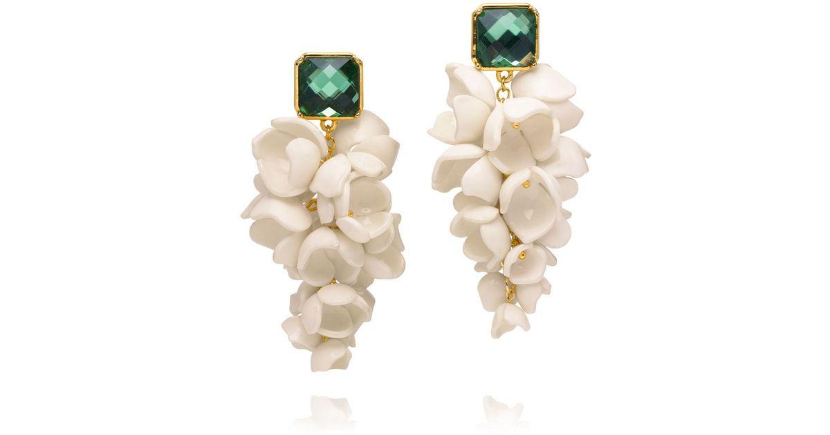 Tory Burch Green Anais G Flower Earring