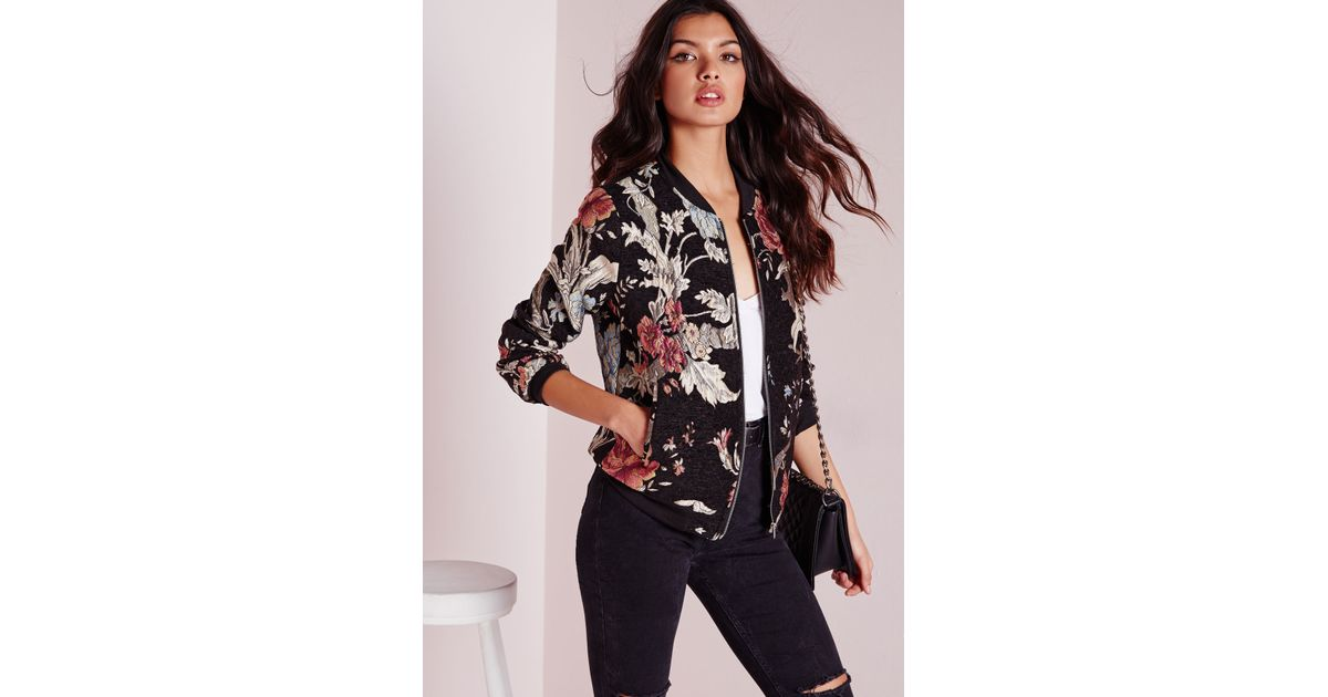 a0c9785d7 Missguided - Multicolor Premium Embroidered Floral Bomber Jacket Black -  Lyst