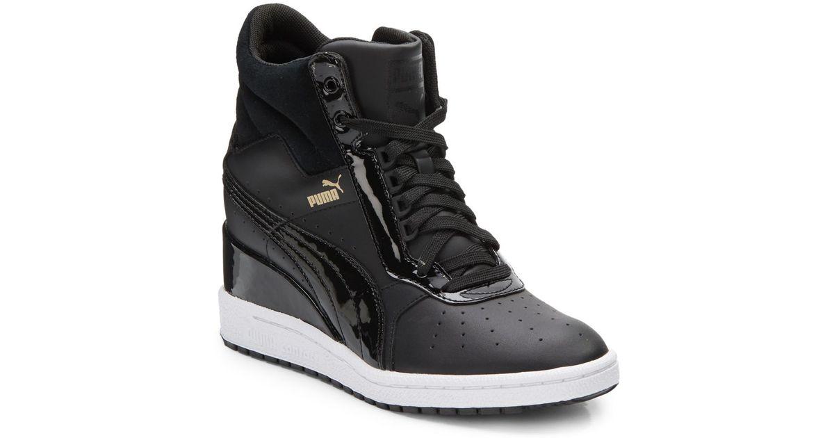967809ac17b Lyst - PUMA Advantage Leather Wedge Sneakers in Black