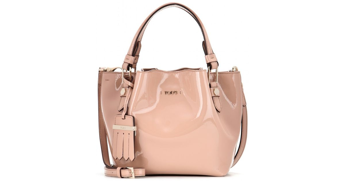 b1622492d1 Lyst - Tod s Flower Micro Patent Leather Bag in Pink