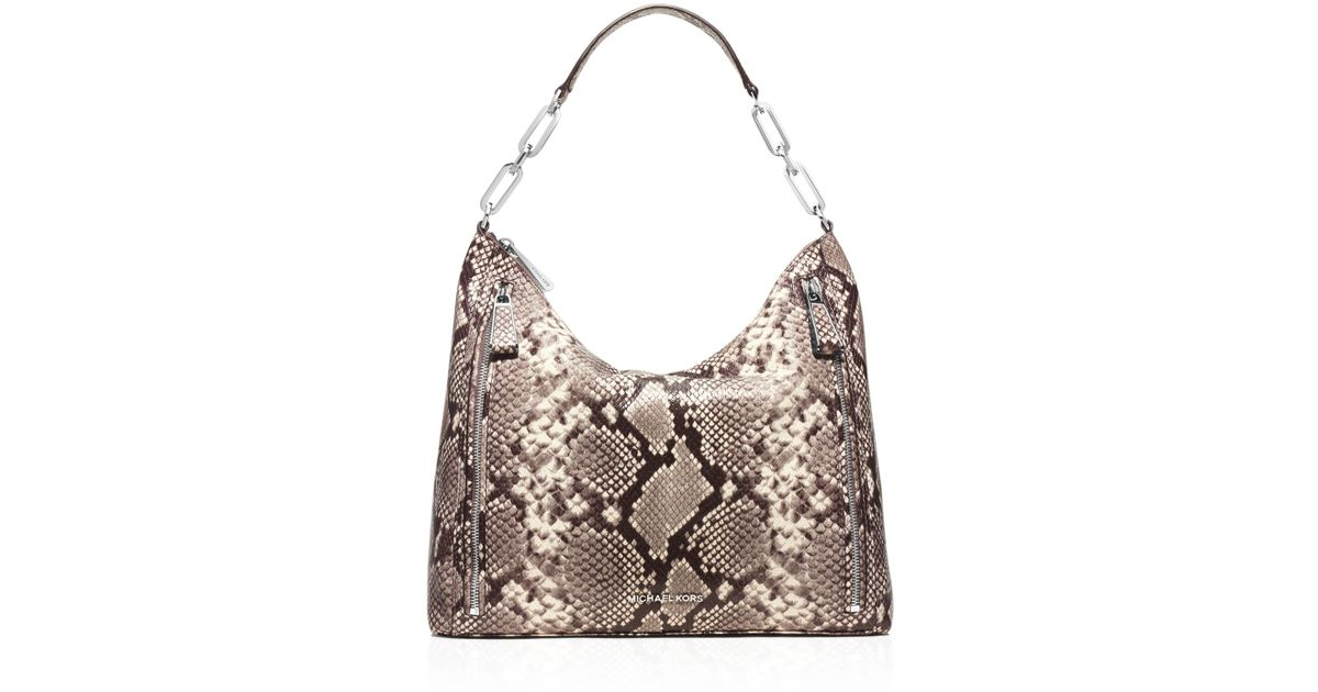 ... Michael michael kors Large Matilda Embossed Shoulder Bag in Natural  Lyst ... 83c5a3a9f4d83