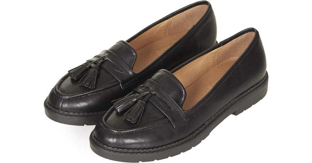 TOPSHOP Max Heavy Sole Loafers in Black