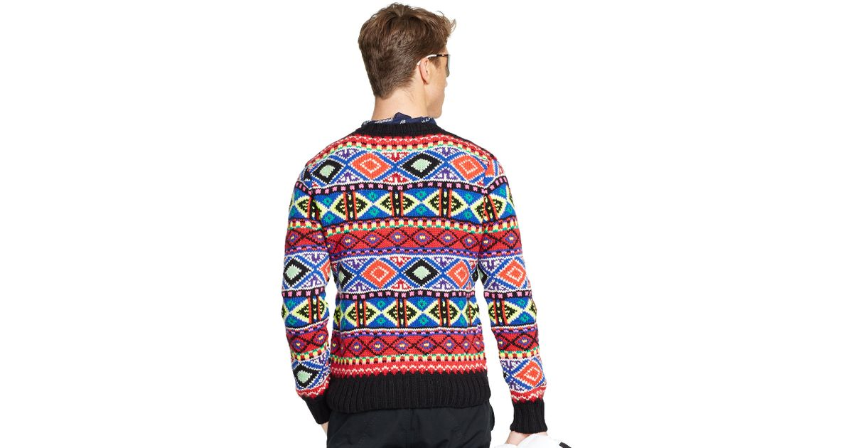 Polo ralph lauren Neon Fair Isle Sweater for Men | Lyst