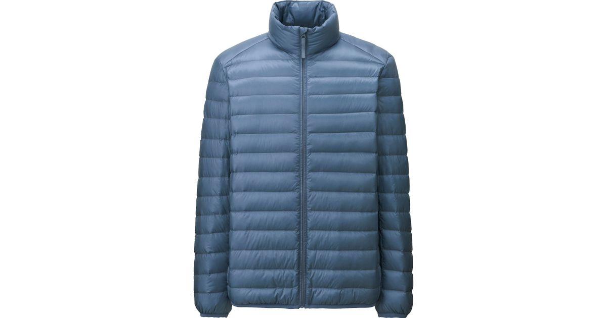 uniqlo men ultra light down jacket in blue for men lyst. Black Bedroom Furniture Sets. Home Design Ideas