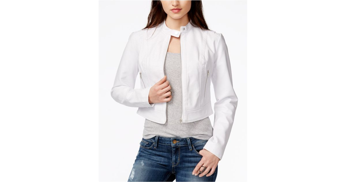 9d61132b Guess Natalie Perforated Faux-leather Moto Jacket in White - Lyst