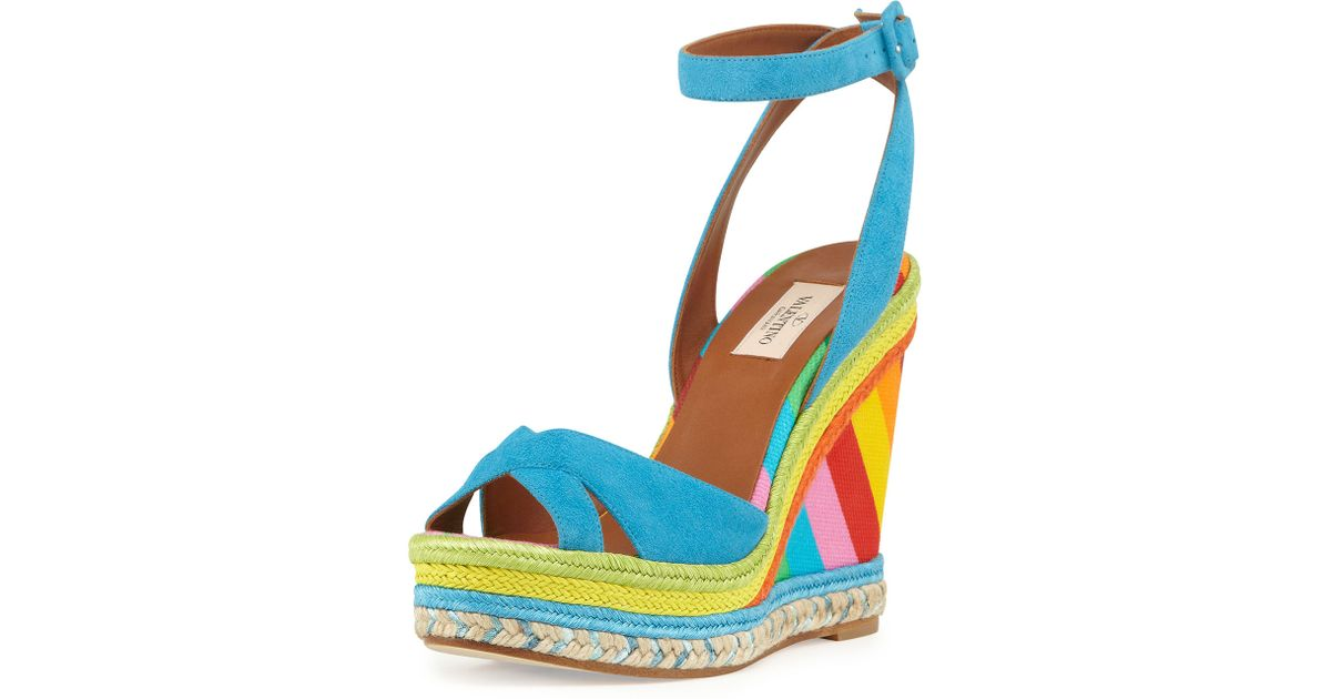 9f8a1fd1a0b Lyst - Valentino Multicolor Espadrille Wedge Sandal in Blue