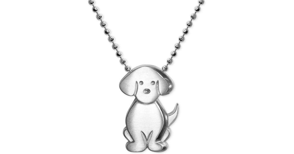Alex woo Little Dog Zodiac Pendant Necklace In Sterling ...