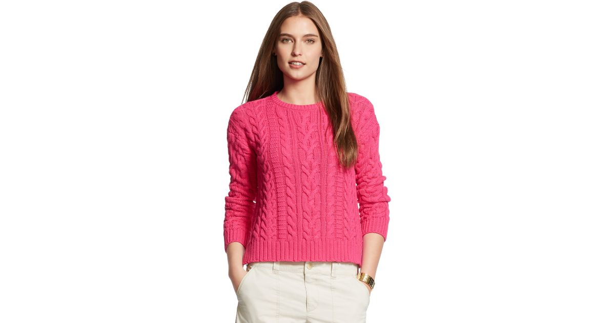 Ralph lauren Cable-knit Cotton Sweater in Pink | Lyst