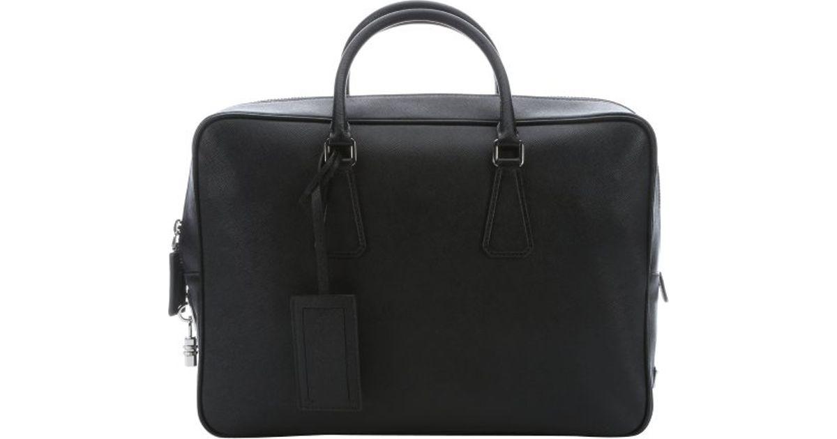 Prada Black Saffiano Leather Travel Bag in Black for Men | Lyst