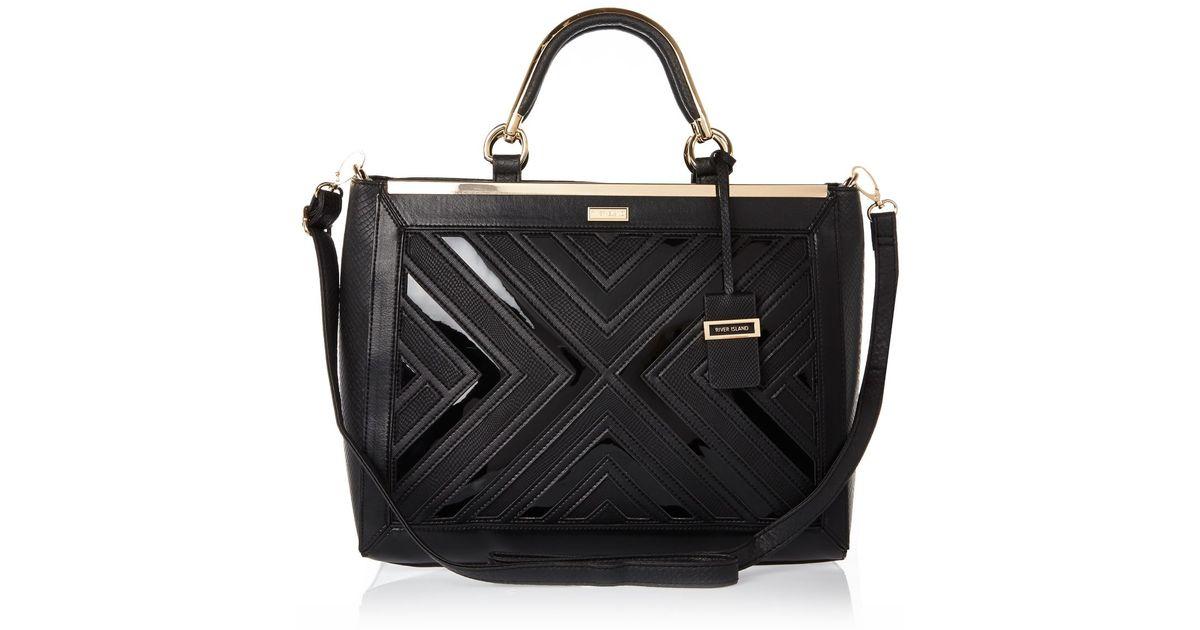Lyst River Island Black Smart Detail Tote Handbag In