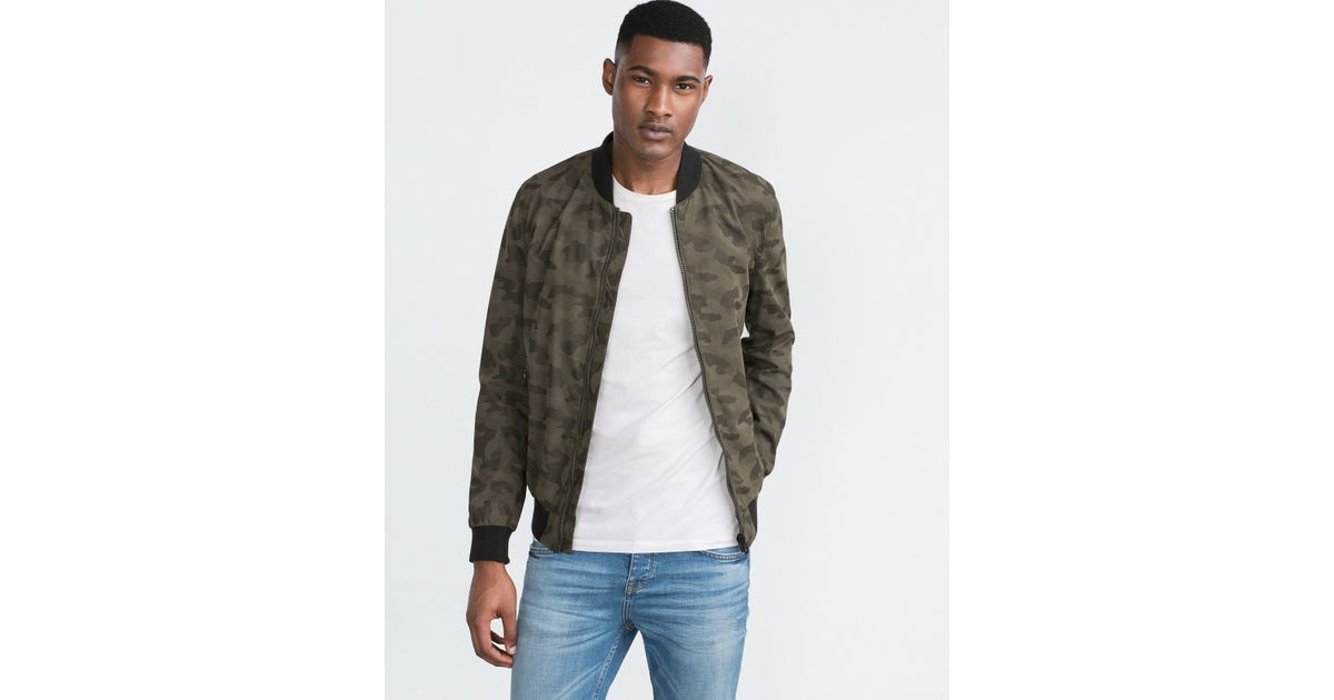 Zara Camouflage Bomber Jacket In Green For Men Lyst