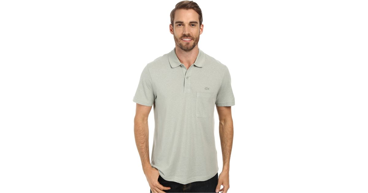 Lacoste cotton linen polo with pocket in green for men for Cotton linen polo shirts