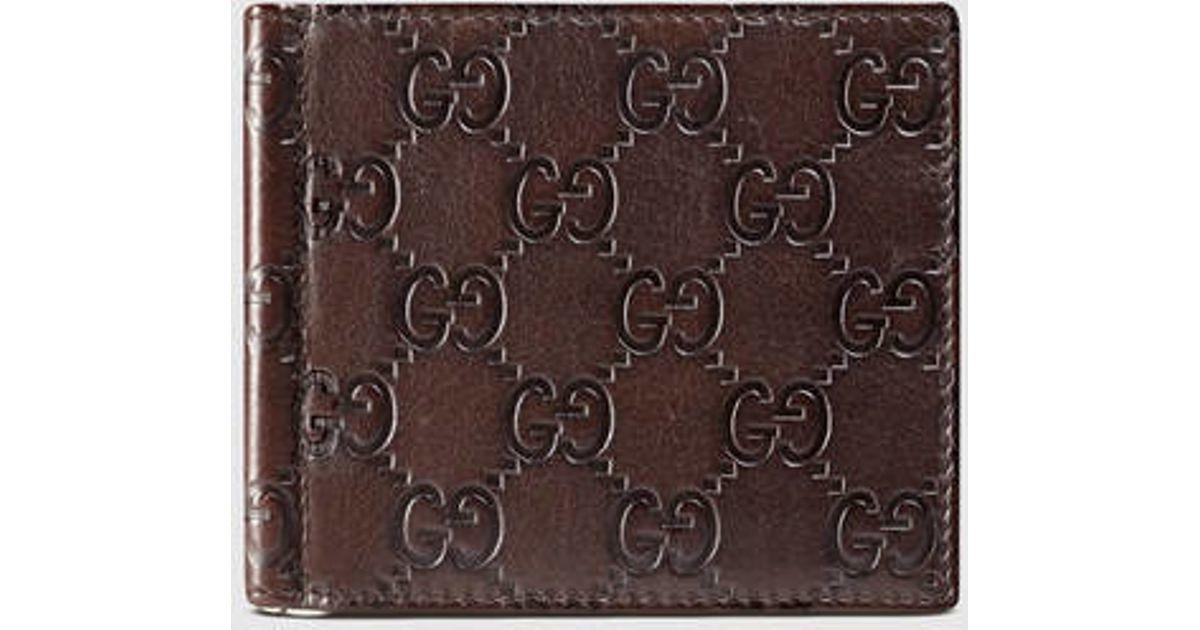 0c0de6a6010 Lyst - Gucci Guccissima Money Clip Wallet in Brown for Men