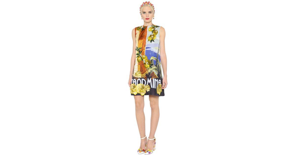 0372934b98 Dolce   Gabbana Taormina Embellished Silk Gauze Dress - Lyst
