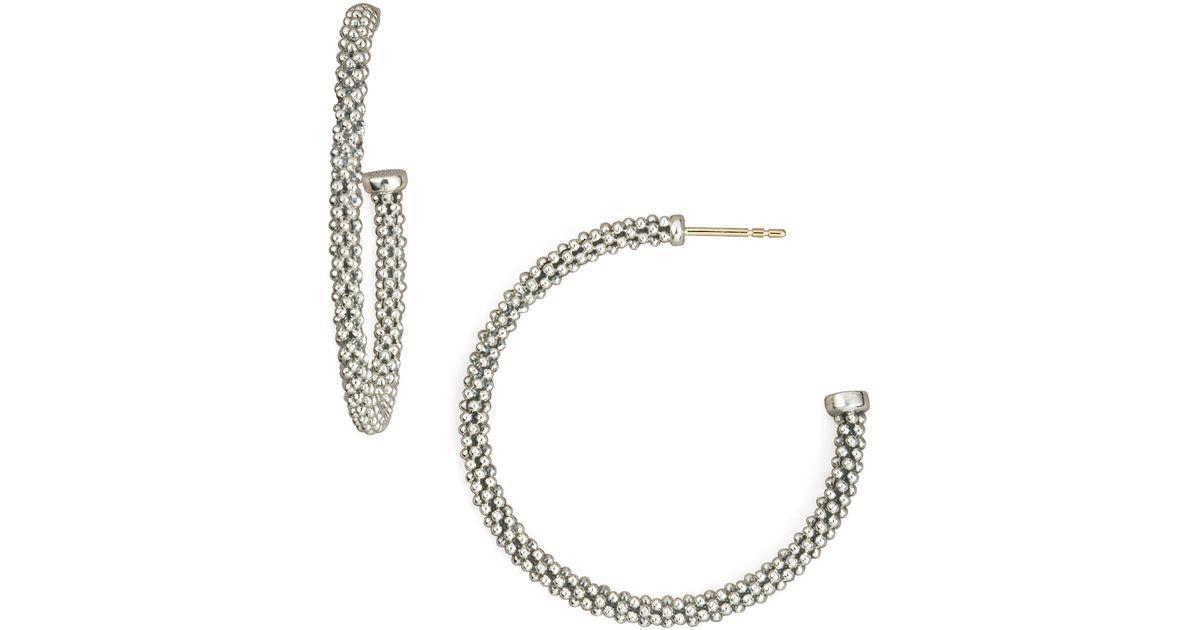 Lagos Thin Caviar Hoop Earrings, 1