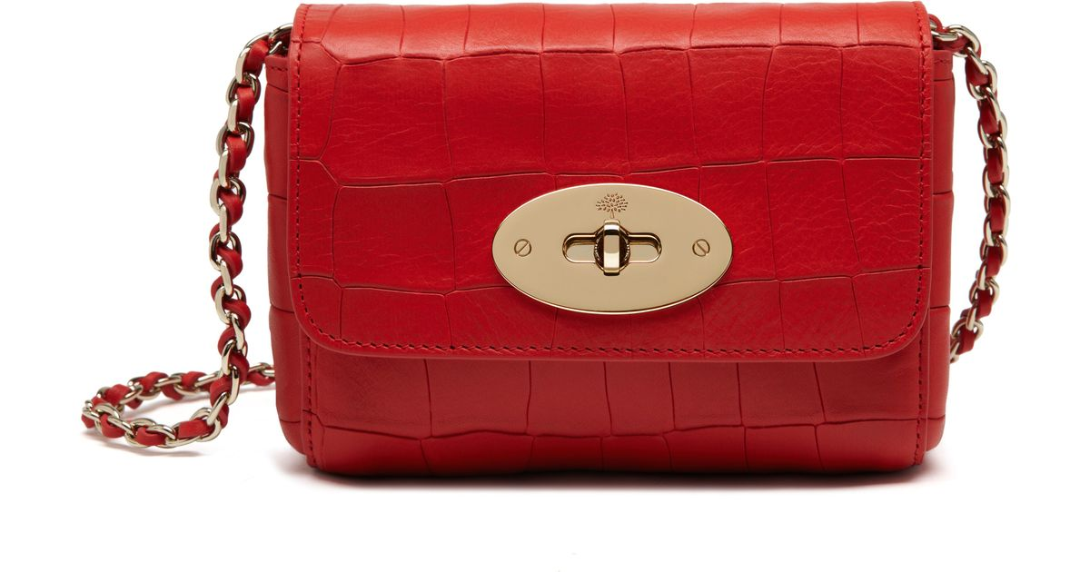 f7795040f6fd ... shop lyst mulberry mini lily leather bag in red 6f424 d52cc