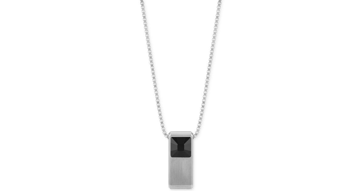 41f6a466c8b0d Swarovski Metallic Men's Center Stainless Steel Black Crystal Pendant  Necklace for men
