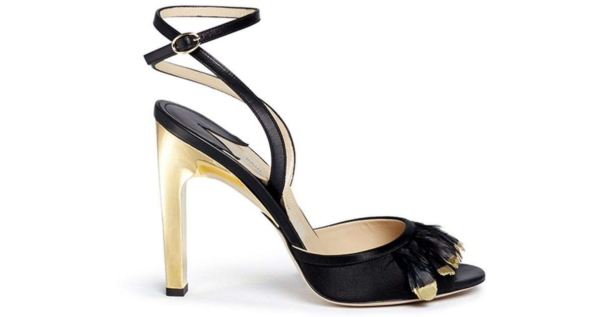 d2e637e07fc Lyst - Paul Andrew  piume  24k Gold Dipped Heel Feather Satin Sandals in  Black