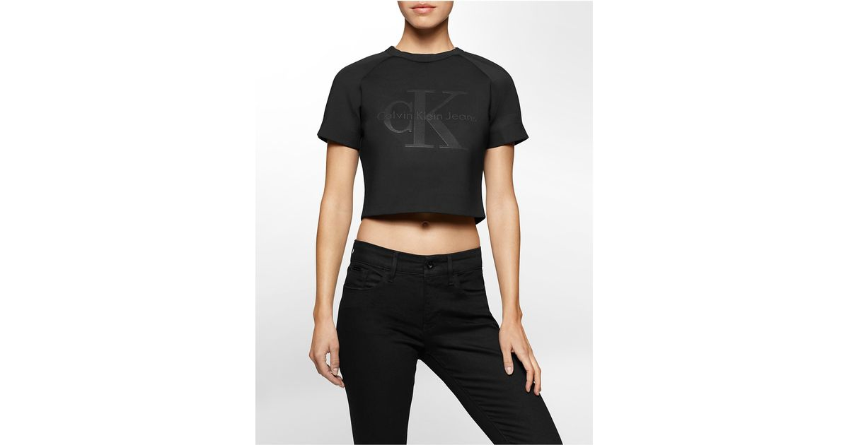 calvin klein jeans spacer cropped sweatshirt in black lyst. Black Bedroom Furniture Sets. Home Design Ideas