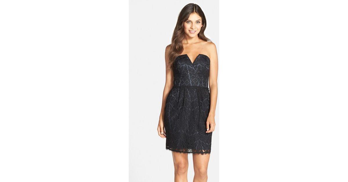 0899fcfa Lyst - Adelyn Rae Strapless Lace Sheath Dress in Black