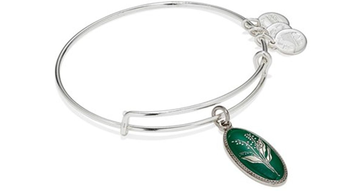 8ad93a6a1355a ALEX AND ANI Birth Flower Expandable Charm Bangle - May/ Green Lily Of The  Valley