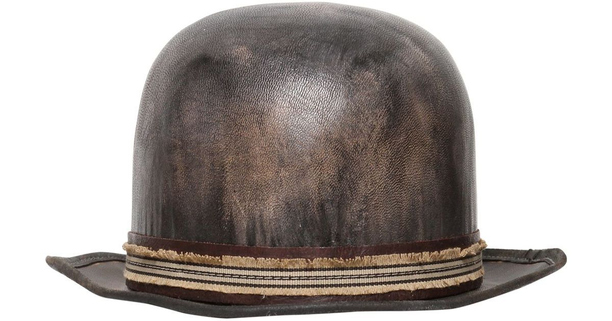 a60fff2d33 Move Vintage Leather Bowler Hat in Gray for Men - Lyst