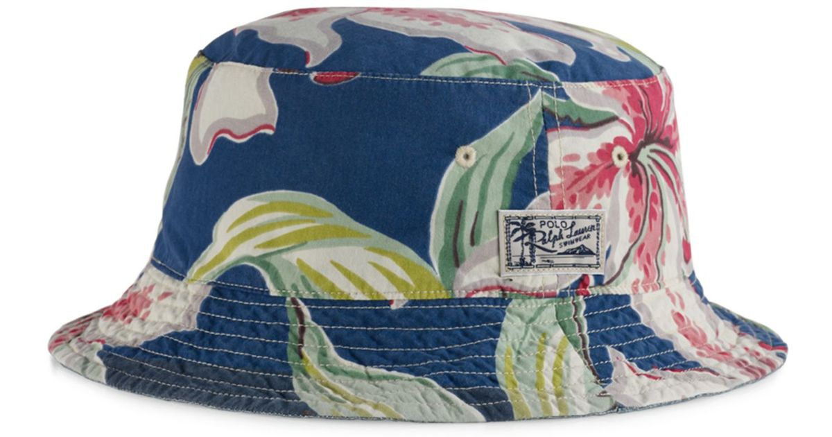 Lyst - Polo Ralph Lauren Big And Tall Reversible Tropical Bucket Hat in  Blue for Men 8ef1486ea90