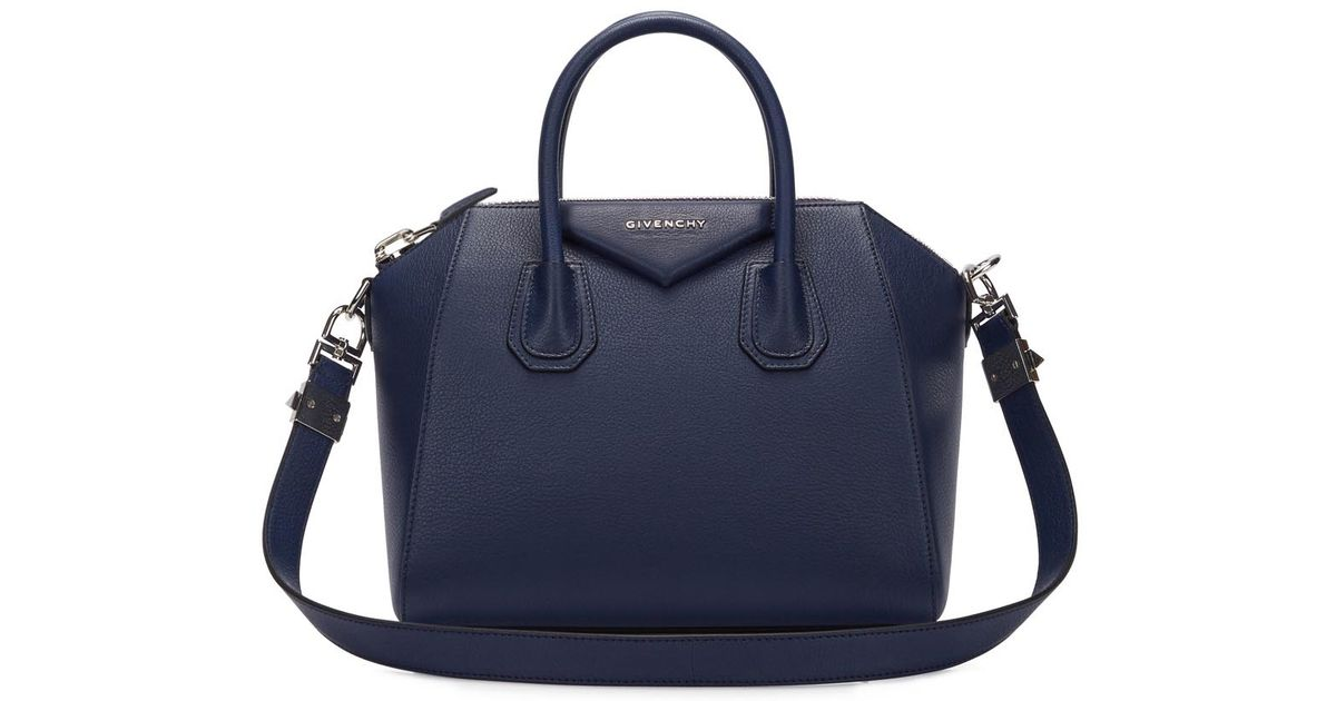 03994807097c Givenchy Antigona Small Navy Leather Tote in Blue - Lyst