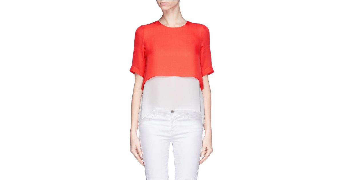 Elizabeth and James Red 'tulsi' Contrast Layer Silk Top