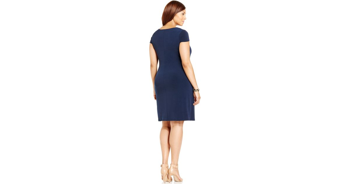 Jones New York - Blue Collection Plus Size Cowl-Neck Gathered Dress - Lyst