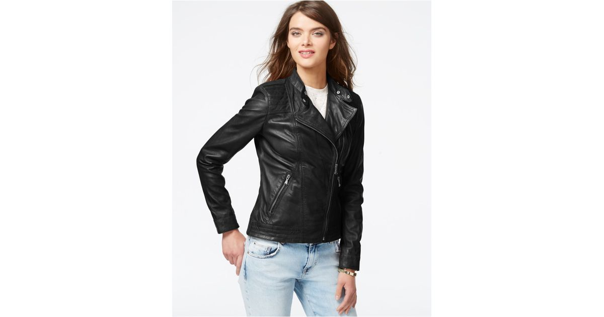 5020d7c8167f Lyst - Guess Asymmetrical Zip-front Leather Jacket in Black