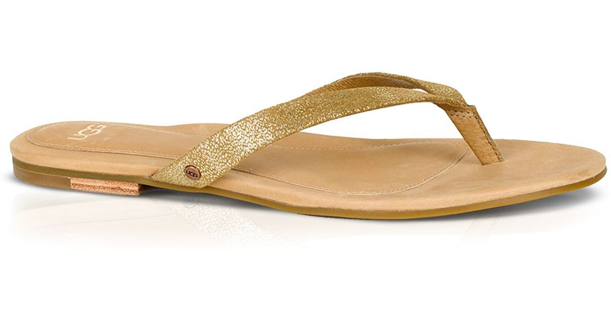 52d15ebb4b71bb Lyst - UGG Ugg® Australia Flat Thong Sandals - Allaria Ii Metallic Flip Flop  in Metallic