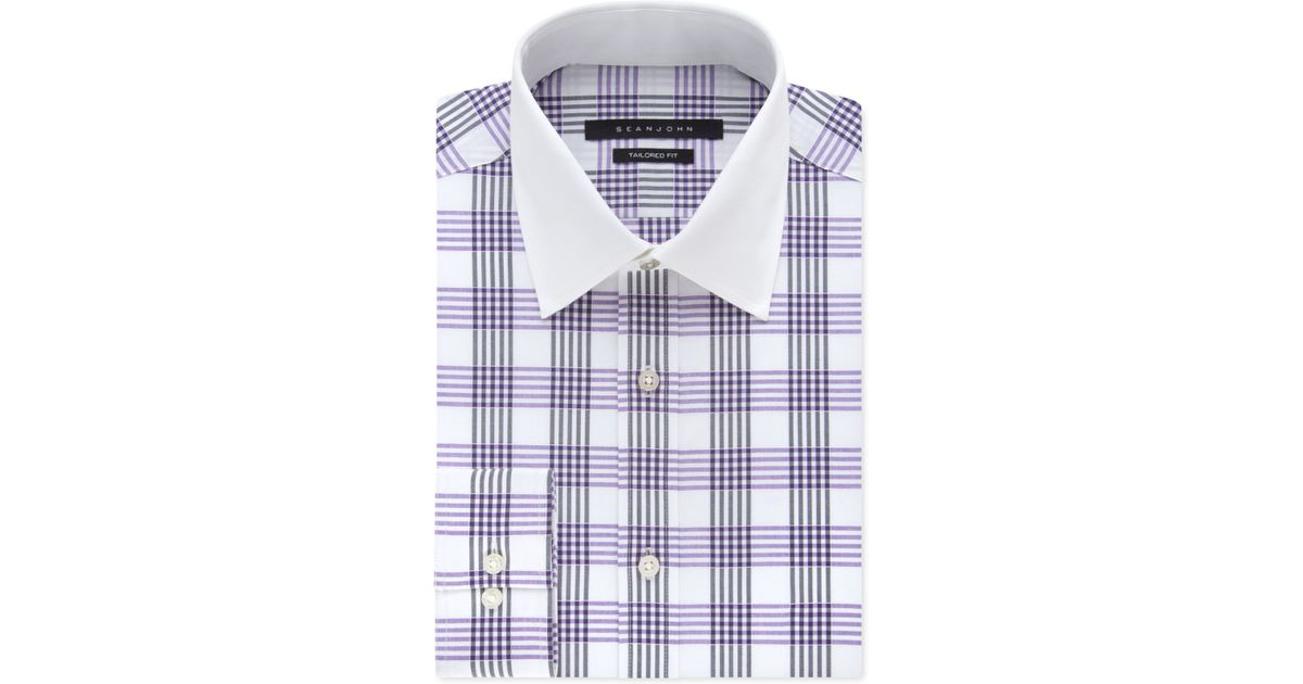 Sean John Men 39 S Purple Haze Plaid Dress Shirt In Orange