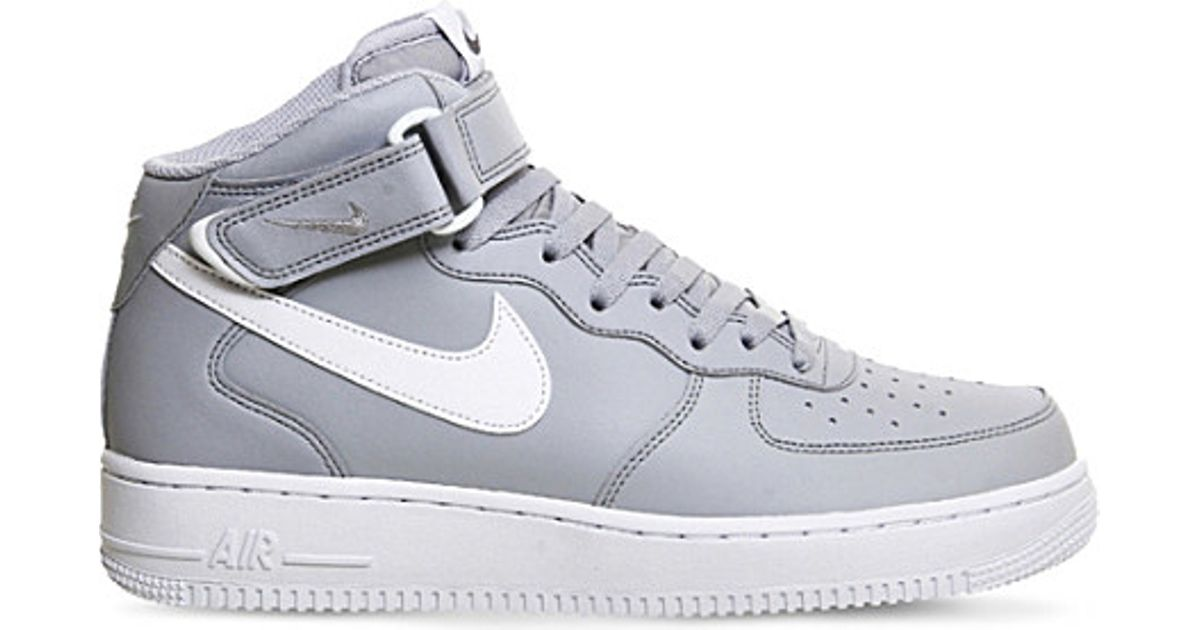 Nike Air Force 1 Leather High Top Trainers In Gray For Men
