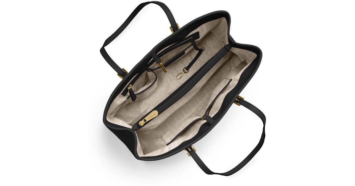 b74afb1312fc Michael Kors Jet Set Saffiano Leather Tote Bag in Black - Lyst